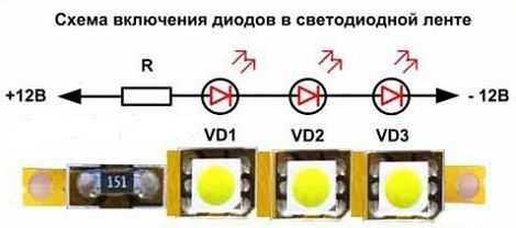 Схема соединения светодиодов в светодиодной ленте